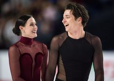 Tessa Virtue and Scott Moir celebrate after their free dance at Canadian Figure Skating National Championships 2018