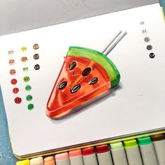 No photo description available. Cute Food Drawings, Amazing Drawings, Copic Art, Pretty Notes, Sketch Painting, Marker Art, Copics, Copic Markers, Food Art