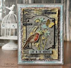 Love to create backgrounds? I'll show you three different mixed media backgr… Love to create backgrounds? I'll show you three different mixed media background panels put together to create one beautiful mixed media piece. Tim Holtz Dies, Tim Holtz Stamps, Timmy Time, Inspiration Artistique, Mixed Media Techniques, Bird Cards, Artist Trading Cards, Tampons, Pretty Cards