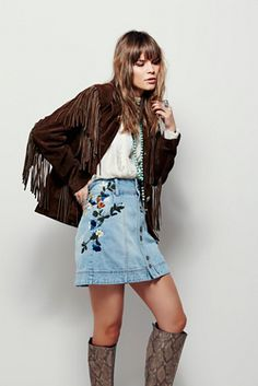 Free People Jackson Embroidered Denim Skirt at Free People Clothing Boutique
