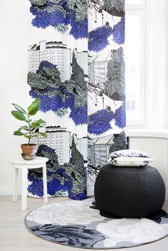 Puistokatu curtain, Luontopolku cushion, and Juhannusruusu rug by Riina Kuikka