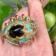 Garderning ! #sylviecorbelin #evileye #turquoise #agate #oneofakindjewelry  #sylviecorbelinrings