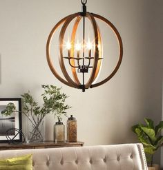 Round Hanging Chandelier Rustic Industrial Style Light Fixture Orb Dining Room #Vineyard