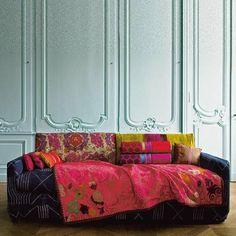 ⋴⍕ Boho Decor Bliss ⍕⋼ bright gypsy color & hippie bohemian mixed pattern home decorating ideas - sofa