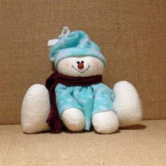 Sitting Fabric Snowman by SnowmanCollector on Etsy