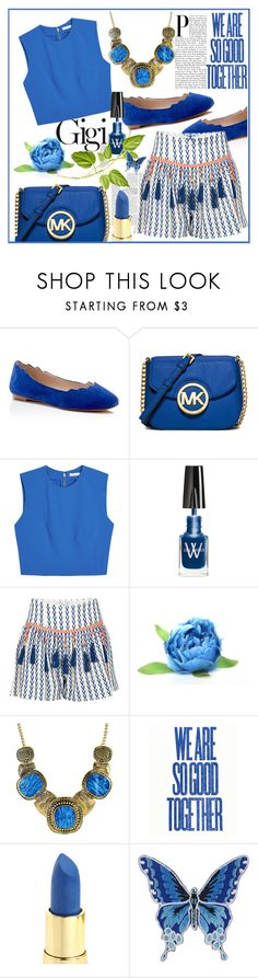 """""""I Love Blue - Contest"""" by biange ❤ liked on Polyvore featuring Sam Edelman, MICHAEL Michael Kors, Alice + Olivia, Lise Watier, Alphamoment and Retrò"""