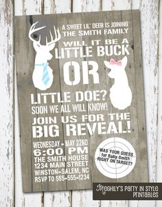 Gender reveal party invite-little buck or little doe (Deer hunting camo target)
