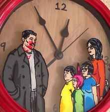 Archer Bobs Burger Crossover Handpainted Acrylic On Glass Clock