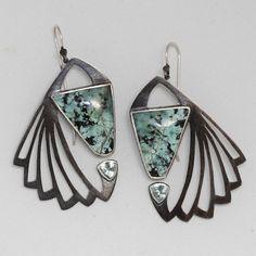 Reverb Earrings. African turquoise jasper, green beryls, oxidized sterling.