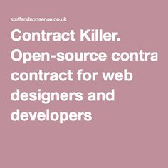 Contract Killer. Open-source contract for web designers and developers