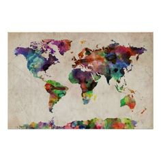 World Map Urban Watercolor Print
