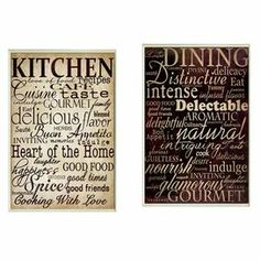 """A perfect finishing touch to your dining room or kitchen, this charming wall decor features a food-themed typographic motif.     Product: 2-Piece wall decor set   Construction Material:  Engineered wood and fiberboard  Features:   Coved bordersReady to hang  Made in the USA     Dimensions: 15"""" H x 11"""" W x 1"""" D each"""