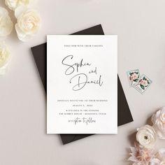 Modern Wedding Invitation Simple Wedding Invites Minimal | Etsy Simple Wedding Invitations, Wedding Stationery, Invitation Cards, Invites, Minimal Wedding, Wedding Calligraphy, Card Envelopes, Simple Weddings, Wedding Inspiration