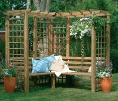 Classic Corner Bench Wooden Lattice Garden Arbour Pergola Seating from Westmount Living. We supply a stunning range of wooden garden arbours and pergolas at fantastic prices with flexible delivery. Pergola D'angle, Corner Pergola, Cheap Pergola, Wooden Pergola, Corner Bench, Wooden Benches, Corner Seating, Pergola Lighting, Garden Arbour Seat