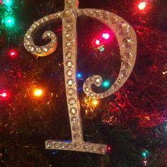 Bedazzled initial board for Christmas tree ornament