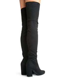 bf069691114 J. Adams Chunky Heel Thigh High Boot Black Suede 7 BM US    See