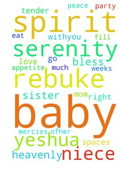 Prayer for baby niece Serenity. -   Heavenly Father of our Savior Jesus Christ I thank you for your loving kindness your many blessings and your tender mercies. Please be with my baby niece Serenity. Her mom my sister abandoned her to go party with her friends going on 2 weeks Dear�Father. �Baby Serenity doesn't eat very much. She has a loss of appetite. I rebuke the sadness spirit from her in�Yeshua name. I rebuke misery spirit from her in Yeshua name. �I rebuke the sickness spirit from…