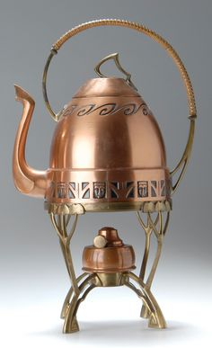Albin Müller, Jugendstil teakettle on stand, German, manufactured by Carl Deffner and Eduard Hueck, c. 1903
