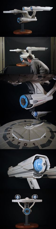 Huge 18,000 Piece Stud-Free LEGO USS Enterprise It takes extra time and talent to build with Lego bricks but hide all those little studs. The 18,000 piece model took Chris Melby eight months to build and measures a truly huge five feet long. It's also a little bit of crossing the streams as the warp nacelles are actually Star Wars planet pieces. Read more at http://nerdapproved.com/toys/huge-18000-piece-stud-free-lego-uss-enterprise/#vqsQQxwLuhPriI5d.99