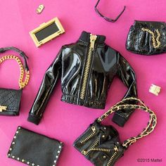 Barbie's trendy outfit and accessories