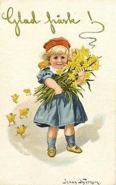 Glad_pask_jenny_nystrom  6 beautiful vintage Easter greeting cards on Http://littlescandinavian.com
