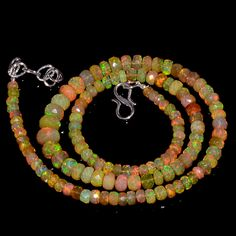 """61CRTS 4to7MM 18"""" ETHIOPIAN OPAL FACETED RONDELLE BEADS NECKLACE OBI3090 #OPALBEADSINDIA"""
