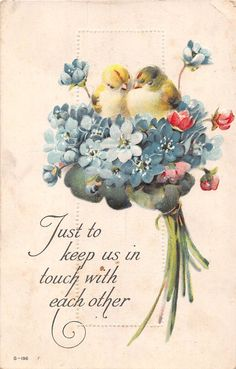 Cute Chicks Sitting in Bouquet of Forget-Me-Nots - Old Postcard - G-196 | eBay
