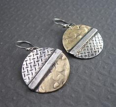 Sterling and Brass Dual Textured Disc Earrings, Handcrafted Mixed Metal Jewelry. $35.00, via Etsy.