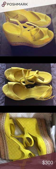 "Authentic Gucci peep toe wedge sandals Super Cute Gucci Wedge sandals, Bold citrine color ( technical color is acid lime), gold hardware and Gucci signature G's subtlety embossed on the heel. Also has a cork wedge. There is some wear on the bottom but no disruption to the heel itself. About a 3 1/2- 4"" heel height. Still in its original box and packaging/ no duster bag however, each shoe is placed in a separate poly bag. Gucci Shoes Wedges"