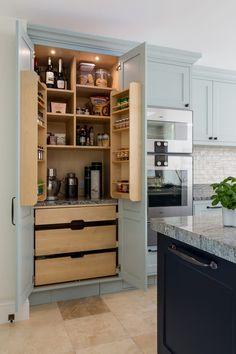 Hague Blue Kitchen, Larder, Small Appliances, Liquor Cabinet, Kitchen Design, Kitchen Cabinets, Shelves, Contemporary, Interior Design