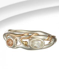 Organic Silver & Champagne Zirconia Ring