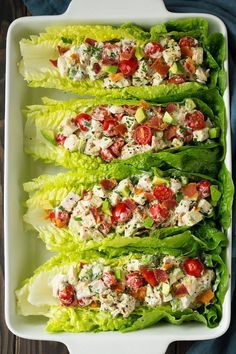 BLTA Chicken Salad Lettuce Wraps (Cooking Classy) It's been a while since I've shared a lettuce wrap recipe but every now and then I like to add them into our dinner rotation. One of my favorite lettuce wrap recipes are these Turkey Taco Lettuce Wrap Healthy Meal Prep, Healthy Snacks, Healthy Eating, Dinner Healthy, Eating Clean, Healthy Lunch Ideas, Diet Snacks, Paleo Dinner, Yummy Healthy Dinner Recipes