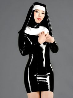 latex catsuit nuns queen uniform clothing rubber fetish garment latex hood straitjacket for adult