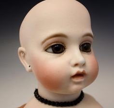 Antique French Bru Circle Dot Bebe Closed Mouth Molded Chest Plate Bisque Doll