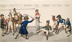 """This original ink-and-watercolor caricature shows a petite, prancing Napoleon dueling with a heavy, domineering Gerhard Leberecht von Blüch..."