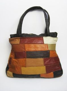 Vintage 1970s Patchwork Leather Boho Hand Bag available to buy online at Virtual Vintage Clothing £15
