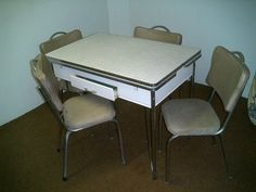 1950\'s vintage retro green chrome dinette table w/6 chairs w/2 ...