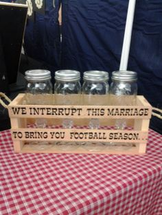 We interrupt this marriage to bring you football season.  Glasses have football since 1869 on them.