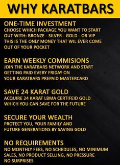Protect yourself with gold Karatbars, 24-karat currency-grade gold bullion, save a gram at a time, affordable and convenient. Visit my link http://www.karatbars.com/?s=michellebrandon  to join for FREE. Gold is the asset that has proven the test of time against inflation & bankruptcy & is accepted all over the world. Karatbars has an Affiliate Program that offers free gold & monetary compensation and make great gifts.