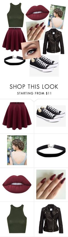 """Untitled #1"" by jazzmynq ❤ liked on Polyvore featuring Converse, Miss Selfridge, Lime Crime and Topshop"