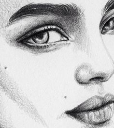 Drawing girl, love and beautiful ♪ ƹӝʒ ❣ ♛ ♪ ✿ ❀& Pencil Art Drawings, Easy Drawings, Drawing Sketches, Sketching, Face Sketch, Color Pencil Art, Beauty Art, Drawing People, Face Art
