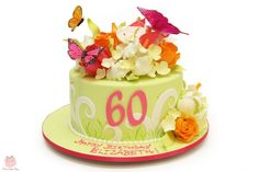 Whimsical 60th Birthday Cake #floral