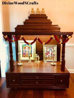 Custom Temple w/o Storage M# 1 - Divine Woodn Crafts Wooden Temple For Home, Temple Design For Home, Home Temple, Single Main Door Designs, Dressing Table Storage, Pinterest Room Decor, Mandir Design, Pooja Mandir, Pooja Room Door Design