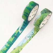Lovely+washi+tapes+with+green+floral+and+scenery+print    Quantity:+1+pc+/+2+pcs  Size:+15+mm(W)+x+7+m(L)