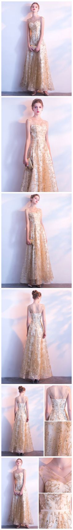 GOLD PROM DRESS,LONG PROM DRESS,A-LINE PROM DRESS, BEAUTIFUL PROM DRESS,V-NECK PROM DRESS,TULLE CHAMPAGNE PROM DRESS,EVENING DRESS AM889 #amyprom  #fashion #party #evening #chic #promdress #promdresslong #longpromdress #eveningdress  #formaldress #gold