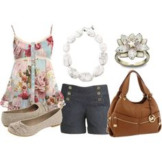 """""""Floral tank & shorts"""" by pickleparty on Polyvore"""