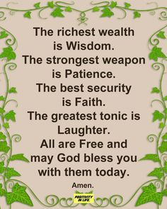 Be Patience, God Bless You, Good To Know, Christianity, Bible Verses, Laughter, Motivational Quotes, Wisdom, Positivity