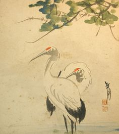 Antique Art Prints | Vintage Japanese Shikishi Art - Crane Birds Nihonga | Flickr - Photo ...