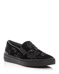 Michael Michael Kors Kyle Embellished Velvet Slip On Sneakers