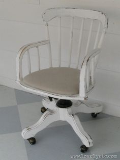 Another furniture redo by my creative friend Carrie- I love this for a shabby chic desk chair